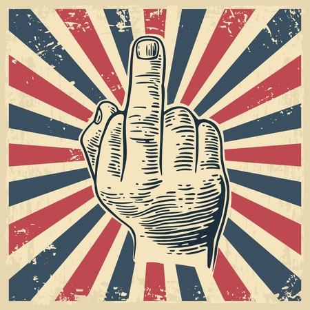 Middle finger Sign by male hand. Hand drawn in a graphic style. Vintage vector engraving illustration for info graphic, poster, web.