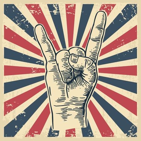 Rock and signe de la main Roll. Tirée par la main dans un style graphique. Vintage vecteur gravure illustration pour info graphique, poster, web.