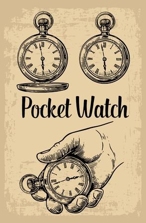 Mano masculina que sostiene el reloj de bolsillo antiguos de la mano de retención. Vector ilustración de grabado de la vendimia. Negro sobre fondo beige. dibujado a mano elemento de diseño