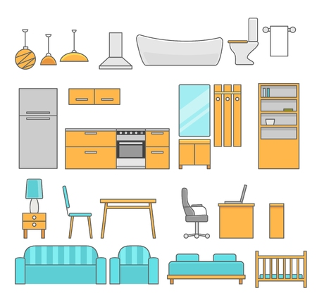 interiors: Interiors room with furniture. Flat style vector illustration. Illustration