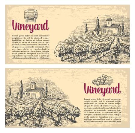 Rural landscape with villa, vineyard fields and hills. Vector engraving drawn vintage illustration. Old paper beige texture background. For label, poster, horizontal banner. Illustration