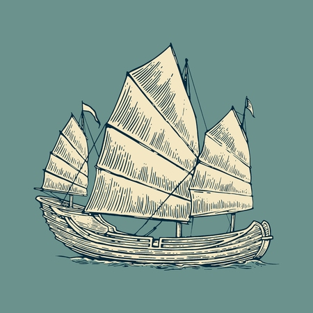 historical: Junk floating on the sea waves. Hand drawn design element sailing ship. Vintage vector engraving illustration for poster, label, postmark. Isolated on blue background.