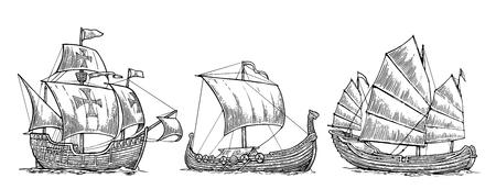 Caravel、ドラッカー、迷惑。海の波に浮かぶ帆船を設定します。手描きのデザイン要素。ビンテージ ベクトル イラスト ポスター、ラベル、消印を彫