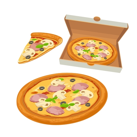 mozzarella cheese: Whole pizza capricciosa in open white box and slice. Isolated flat illustration for poster, menus, brochure, web and icon. Illustration