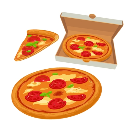 margherita: Whole pizza margherita in open white box and slice. Isolated flat illustration for poster, menus, brochure, web and icon. Illustration