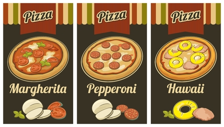 margherita: Retro Vintage poster whole Pepperoni, Hawaiian, Margherita pizza and the ingredients. Black background. For advertising, web,