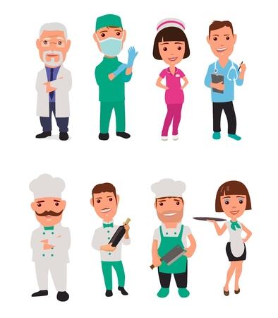 chirurgo: Impostare l'icona di sesso maschile, cuoco personaggio femminile e medico. Cameriere, cuoco, cameriera, infermiera, chirurgo. illustrazione piatta su sfondo bianco. illustrazione piatta su sfondo bianco. icon Collection Vettoriali