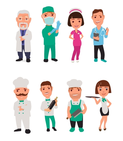 surgeon: Set icon male, female character cook and doctor. Waiter, chef, waitress, nurse, surgeon. flat illustration on white background. flat illustration on white background. Collection icon