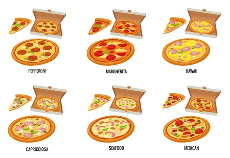 margherita: Set whole and slice pizza in open white box. Pepperoni, Hawaiian, Margherita, Mexican, Seafood, Capricciosa. isolated flat illustration for poster, menus, brochure, web and icon