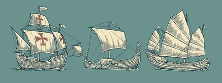 Caravel, drakkar, junk. Set sailing ships floating on the sea waves. Hand drawn design element. Vintage vector engraving illustration for poster, label, postmark. Isolated on blue background.