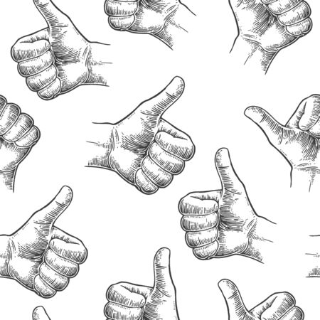 male's thumb: Seamless Pattern hand showing symbol Like. Making thumb up gesture. Drawn design element. Vector black vintage engraved illustration isolated on a white background. Sign for web, poster, info graphic Illustration