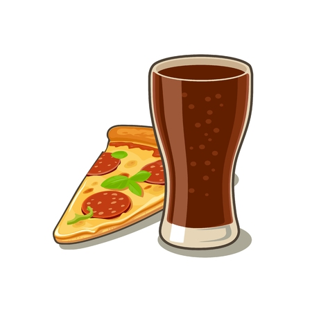 pepperoni: Glass of cola and slices of pizza pepperoni. Isolated on white background with shadow. Vector flat illustration for poster, menus, web, banner, icon