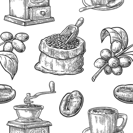 Seamless pattern with coffee, bean and branch. Black and white color. Vintage vector hand drawn engraving illustration. Isolated on white background.