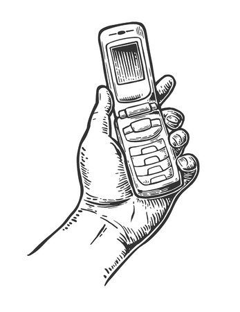 call history: Flip Phone hold male hand. Vintage vector drawn engraving illustration for info graphic, poster, web Illustration