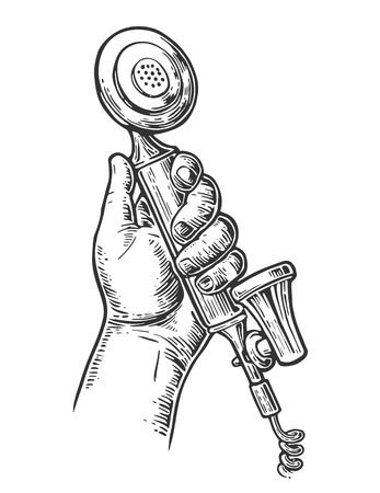 vintage telephone: Retro classic telephone in male hand. Isolated on white background. Vintage vector drawn engraving illustration for info graphic, poster, web.