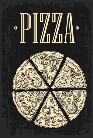 mexican food plate: Set slice pizza Pepperoni, Hawaiian, Margherita, Mexican, Seafood, Capricciosa. Vintage vector engraving illustration for poster, menu, box. Isolated on dark background