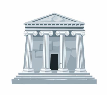 Antike römische oder griechische Tempel mit Kolonnade isoliert auf weißem Hintergrund. Vector flach Illustration.