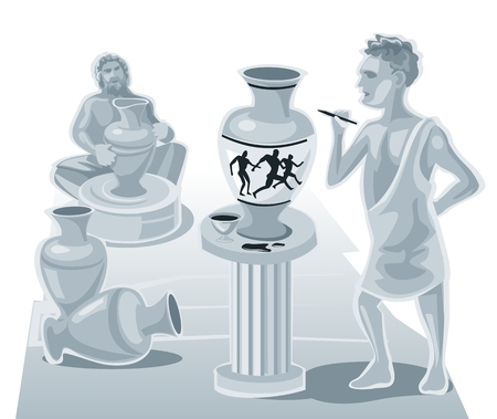 clay pot: Painter painting on a clay pot and the potter makes pots. Vector flat illustration.