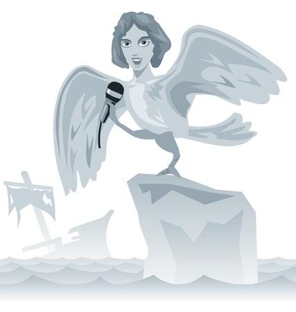 arte greca: Cantare una sirena. Grecia antica. Iliade, la storia del odissea dell'arte greca. piatta illustrazione vettoriale. Vettoriali