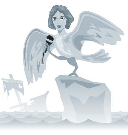 ancient greece: Singing a siren. Ancient Greece. Iliad, the story of the odyssey Greek art. Vector flat illustration.