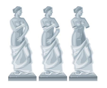 Sculpture Venus - goddess of love.Vector flat isolated illustration on white background. Vettoriali
