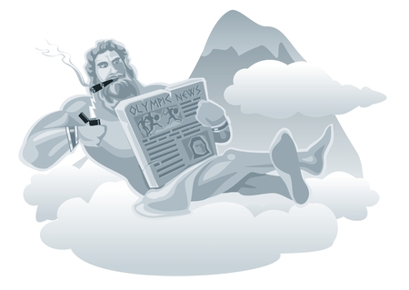 grecian: Zeus sitting on a cloud and lights a cigarette from lightning. Flat vector illustration.