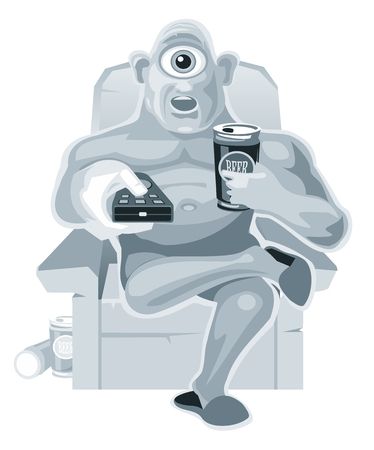 cyclops: Cyclops is sitting in a chair watching television and holding the remote control and beer. Vector flat illustration on white background