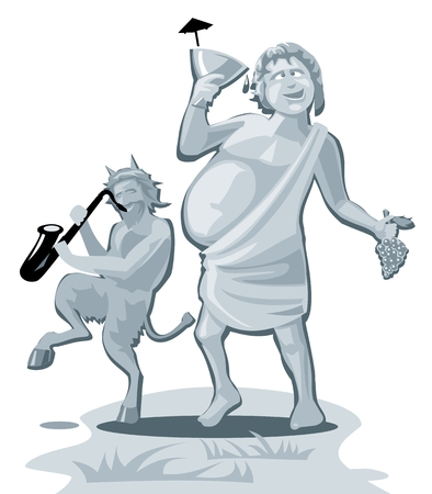 Dionysus and satyr. Greek god isolated on white background. Vector flat gray illustration.  イラスト・ベクター素材