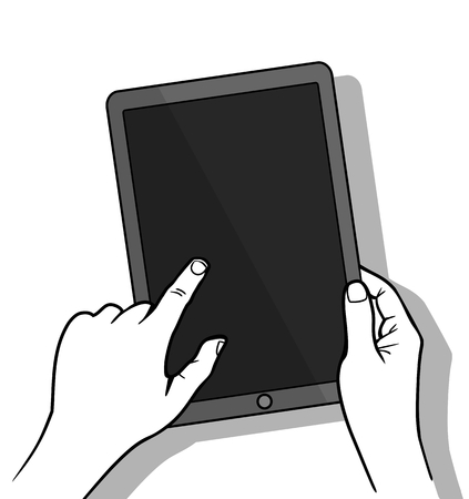 holing: Hands holing tablet computer with blank screen. Using digital tablet, flat design concept. Vector illustration Illustration