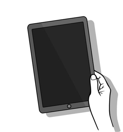 infographics touchscreen: Hand holding tablet computer with blank screen. Using digital tablet, flat design concept. Vector flat illustration