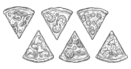 mexican food plate: Set slice pizza Pepperoni, Hawaiian, Margherita, Mexican, Seafood, Capricciosa. Vintage vector engraving illustration for poster, menu, box. Isolated on white background Illustration