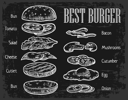 Burger ingredients on chalkboard. Isolated painted components on black background. Vector vintage engraving Illustration for poster, menu, web, banner, info graphic