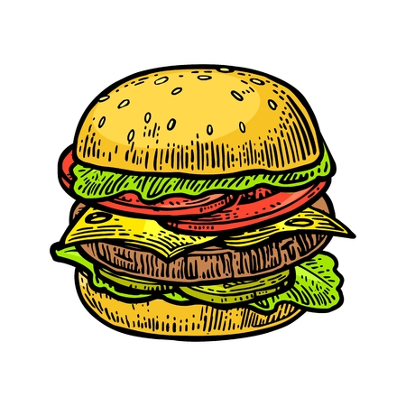Burger include cutlet, tomato, cucumber and salad isolated on white background. Vector vintage engraving illustration for poster, menu, web, banner, info graphic