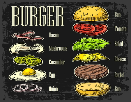 Burger ingredients on black background. Set isolated color painted components. Vector vintage engraving Illustration for poster, menu, web, banner, info graphic
