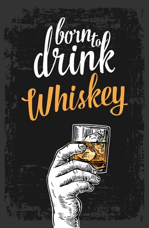 Male hand holding a glass with whiskey and ice cubes. Vintage vector engraving illustration for label, poster, invitation to invitation to party and birthday.