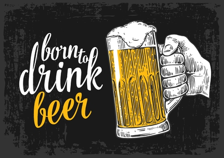 Male hand holding a beer glass. Vintage vector engraving illustration for web, poster, invitation to invitation to party and birthday. Isolated on dark background