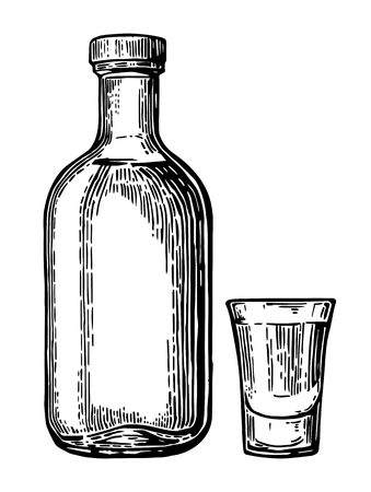 Glass and botlle of tequila. Vintage vector engraving illustration for label, poster, web, invitation to party. Isolated on white background