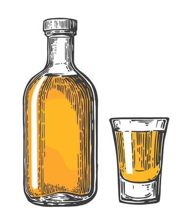 Glass and botlle of tequila. Vintage vector engraving illustration for label, poster, web, invitation to party. Isolated on white background Vector Illustration
