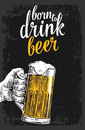 Male hand holding a beer glass. Vintage vector engraving illustration for web, poster, invitation to invitation to party and birthday. Isolated on dark background Vector Illustration