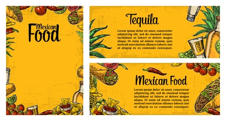mexican food plate: Mexican traditional food restaurant menu template with traditional spicy dish. burrito, tacos, tomato, nachos, tequila, lime. Vector vintage engraved illustration on yellow background. For poster, web