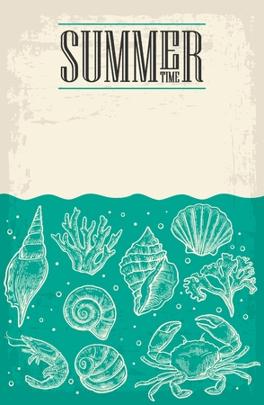 cockle: Concept of summer poster with sea shell, coral, crab and shrimp and empty paper for message. Vector engraving vintage illustrations.
