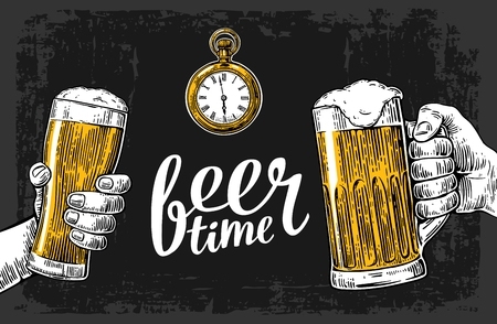 Two hands holding beer glasses mug and antique pocket watch. Hand drawn design element. Vintage vector engraving illustration for web, poster, invitation to beer party. Isolated on dark background. Çizim