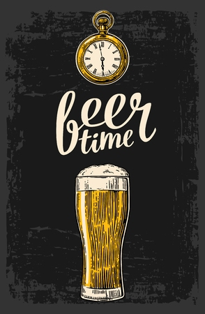 watch glass: Beer glass and antique pocket watch. Hand drawn design element. Vintage vector engraving illustration for web, poster, invitation to beer party. Isolated on dark background.