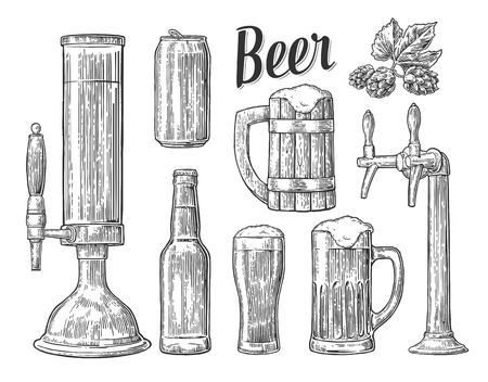 Beer tap, class, can, bottle, barrel and hop. Vintage vector engraving illustration for web, poster, invitation to beer party. Hand drawn design element isolated on white background.