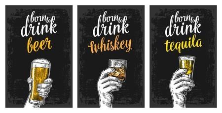ビール、テキーラ、ウイスキーと氷とグラスを持っている男性の手。ビンテージ ベクトル ラベル、ポスター、パーティーや誕生日に招待する招待状