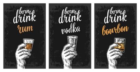 ウォッカ、ラム酒、バーボンと氷とグラスを持っている男性の手。ビンテージ ベクトル ラベル、ポスター、パーティーや誕生日に招待する招待状の