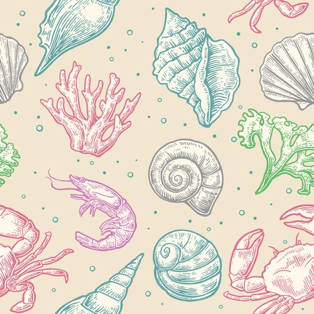 cockle: Seamless pattern sea shell, coral, crab and shrimp. Vector engraving vintage illustrations. Isolated on beeige background. Illustration