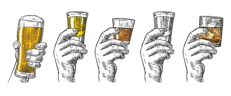 Male hand holding a glasses with beer, tequila, vodka, rum, whiskey and ice cubes. Vintage vector engraving illustration for label, poster, invitation to invitation to party and birthday.