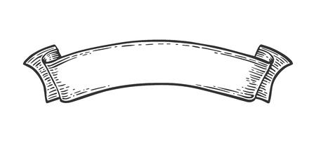 リボンは、白い背景で隔離。ベクトル黒ヴィンテージ メニューの web およびラベルのイラストを彫刻します。グラフィック スタイルで描画の手。