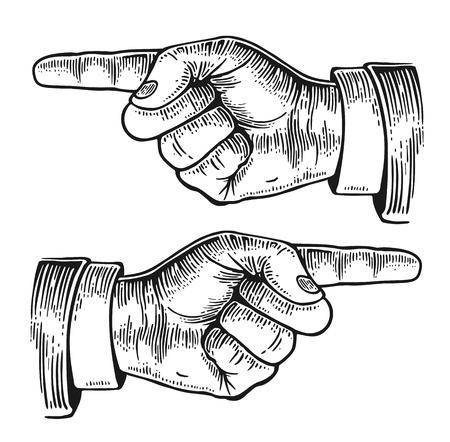 Wijzende vinger. Vector zwart vintage gegraveerde illustratie geïsoleerd op een witte achtergrond. Teken van de hand voor het web, poster, info graphic
